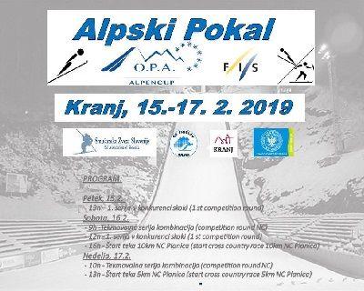 Alpski pokal v skokih in nordijski kombinaciji v Kranju na skakalnici v Bauhenku od 15. do 17. 2. 2019